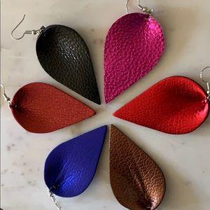 Free People Jewelry - BOGO! Metallic Royal Blue Petal Earrings